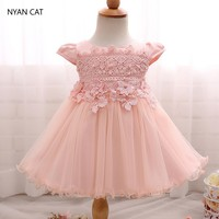 EMS DHL Free Shipping Baby Girls Kids Beaded Lace Flowers Infants Ribbon Waistband Dress Princess Party