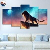 משלוח כמו ציפור JoJoesArt הדפסת HD בד 5 piece האריה על הצוק Artsailing קיר אמנות קישוט בית תמונה CU-3230C