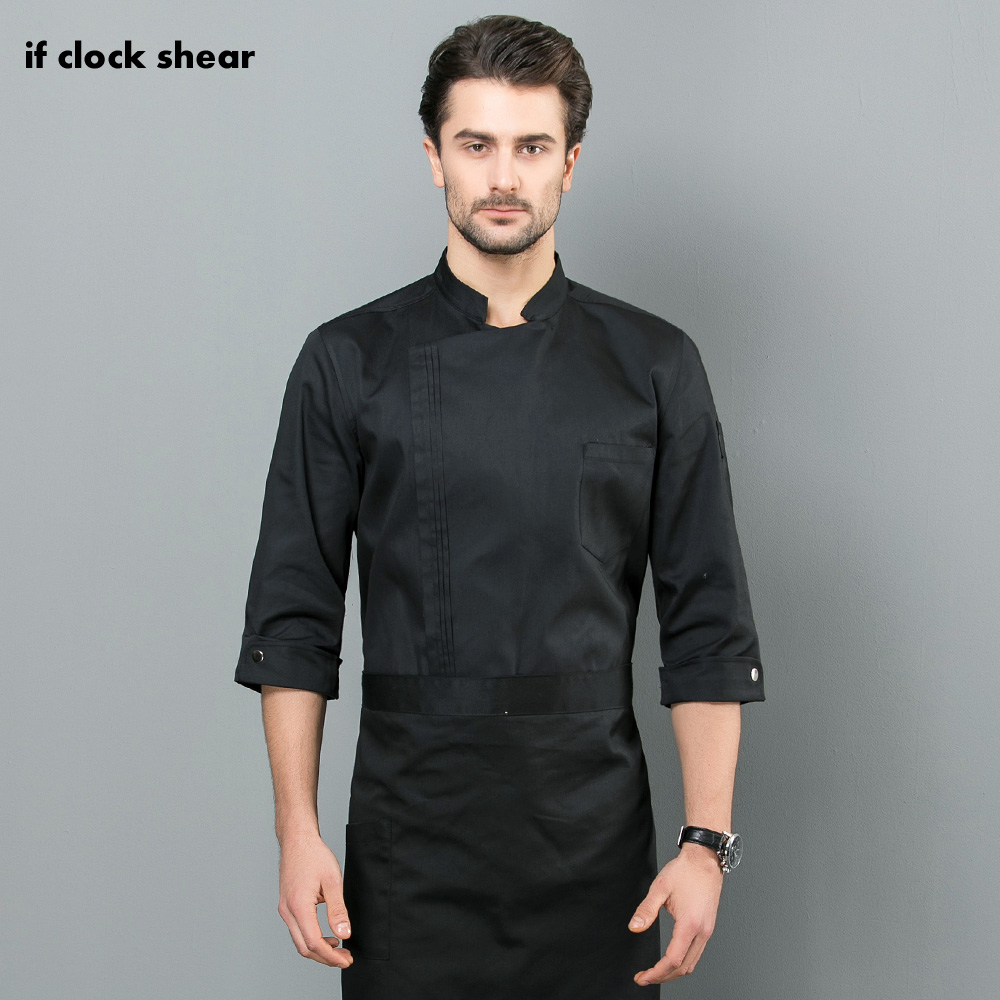IF 2019 New Food Service Kitchen Work Jackets Restaurant Chef Uniforms Sushi Bakery Cafe Waiter Catering Black White Coat Aprons