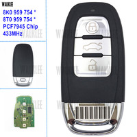 WALKLEE Car Remote Auto Smart Key fit for Audi A4/S4/A5/S5/Q5 8T0 959 754 * / 8K0 959 754 * 3Buttons 433MHz Door Lock