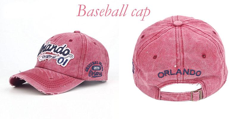 ff2914bf5f1 Vintage Cotton Baseball Cap Orlando Letter Embroidered Strapback ...