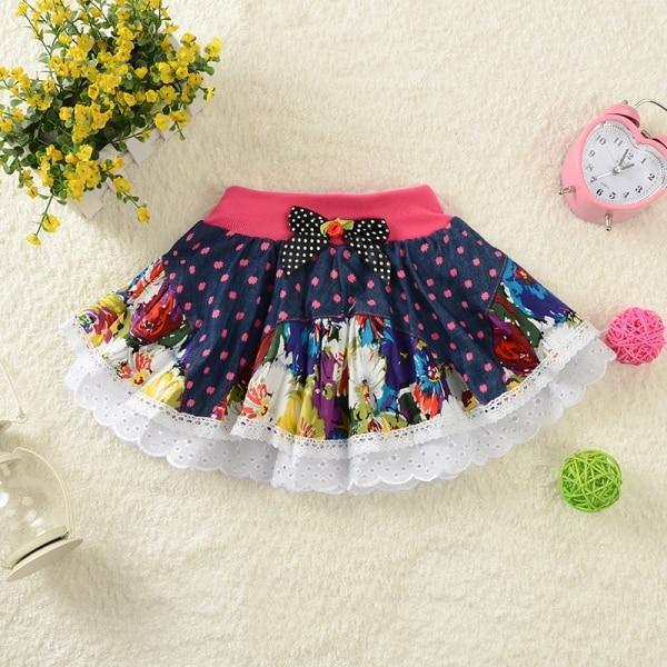 2017 Children's Baby Girl Tutu Saias Flower Skirt Girls Ruffles Denim Skirt Kids Lace Bow Little Girls Jupe Jeans Enfant Skirts