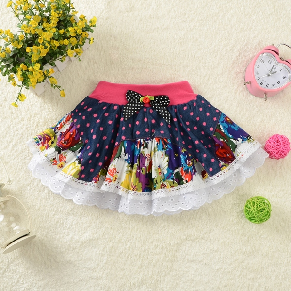 2018 Children's Baby Girl Tutu Saias Flower Skirt Girls Ruffles Denim Skirt Kids Lace Bow Little Girls Jupe Jeans Enfant Skirts
