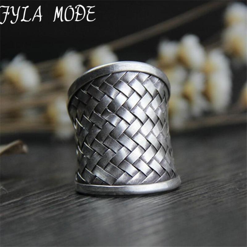 Nero Thai Fatti A Mano in Tessuto Web Net Anello Autentico 100% 925 Anelli In Argento Sterling per Gli Uomini Vintage Stile Punk Degli Uomini gioielli