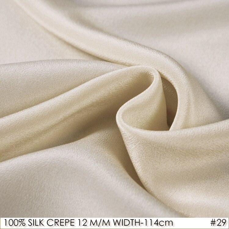 SILK CREPE DE CHINE 114cm width 12momme/100% Natural Mulberry Silk Fabric DIY Matt Color Women Evening Dress Light Camel NO 29