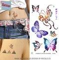 Tatuajes temporales A Prueba de agua pegatinas tatuaje cuerpo de arte Pintura decoración para fiestas y eventos mariposa colorida Al Por Mayor