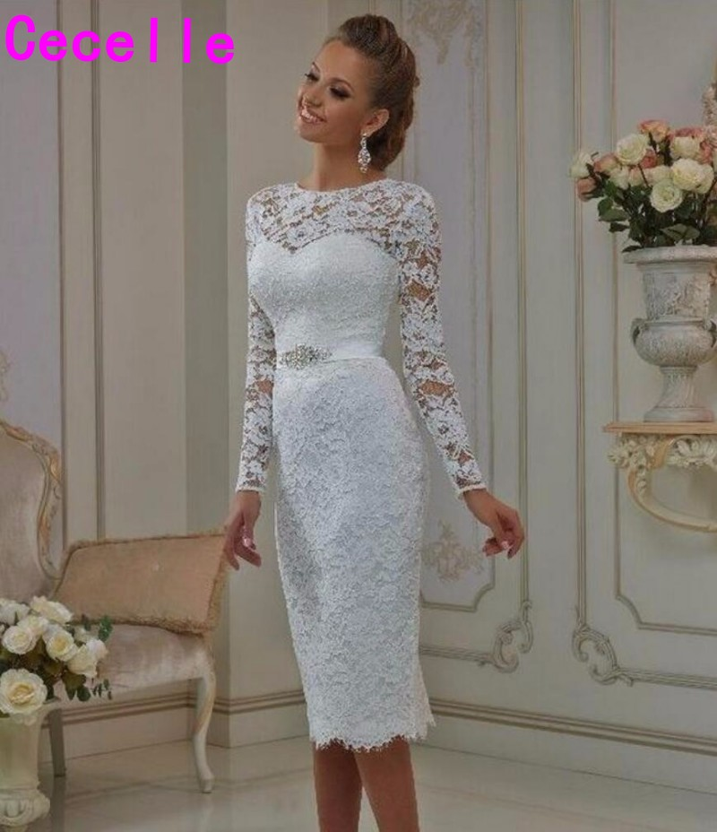 Vintage Lace Tea Length Short Wedding Dresses 2019 With Long Sleeves Sheath Jewel Neck Casual Reception Bridal Gowns New Real