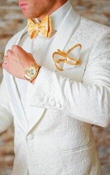Fashionable One Button White Paisley Groom Tuxedos Shawl Lapel Groomsmen Men Blazers Suits (Jacket+Pants+Tie) NO:334