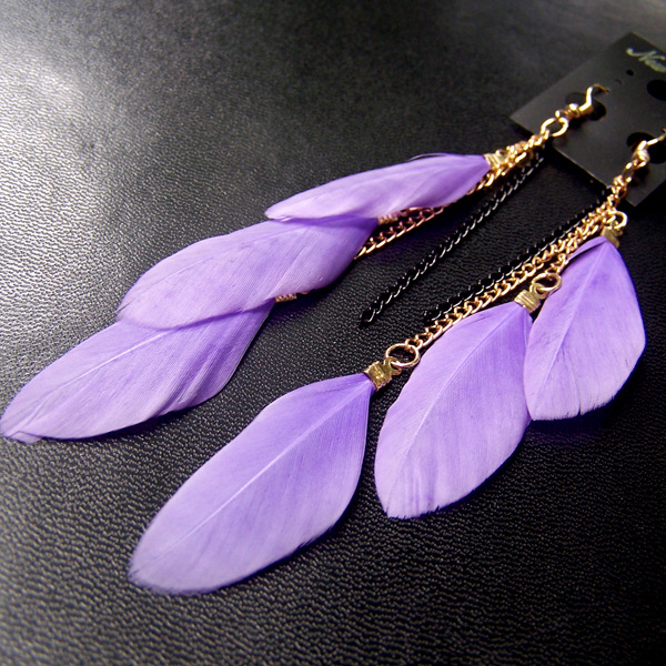 SHUANGR 19 Colors Fashion Jewelry fluorescent Color Exotic Dangle Earrings Long Tassel Feather Earrings for Women