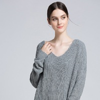 Sweater Autumn And Winter Solid Color New Women'S V Neck Pullover Sweater Female Sexy Backless Sweater Loose Large Size Knitted