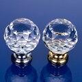 Luxury Crystal Glass Round Drawer Pull Knobs Kitchen Cabinet Cupboard Wardrobe Metal Door Handles Accessories
