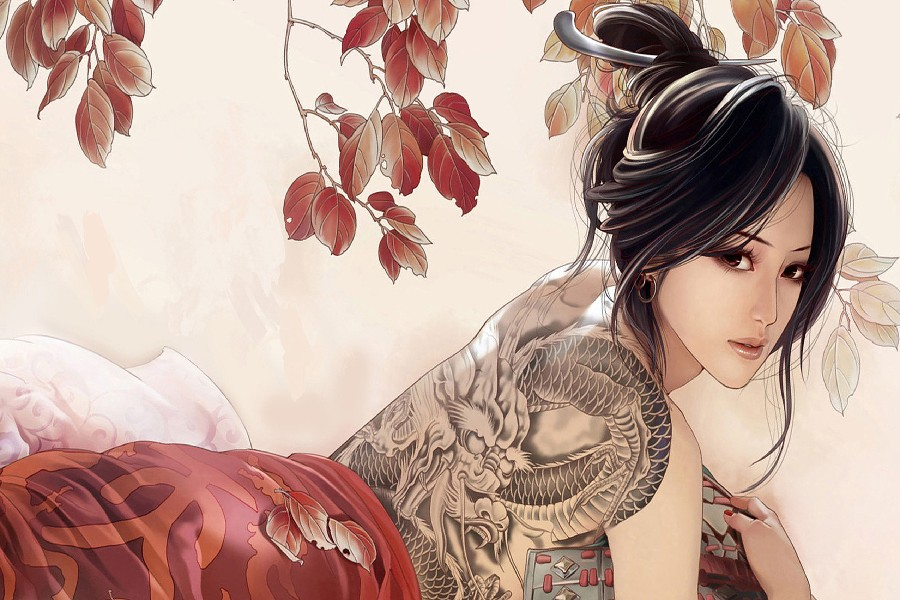2017 Time-limited Real Wall Art Painting Beautiful Asian Girl Sexy Tattoo Fantasy Artwork Fabric Poster Print Picture For Gift