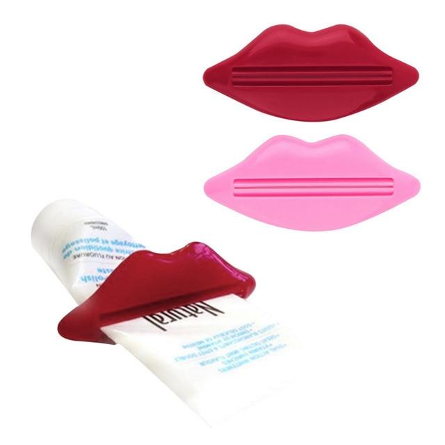 2 pz/set Sexy di Plastica Hot Lip Bacio Tubo Dispenser Spremere Il Dentifricio S