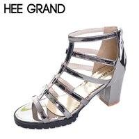 Silver Gladiator Sandals Summer Sexy High Heels Beach Platform Shoes Woman Slip On Pumps Casual Women