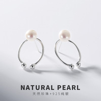 Elegance Natural Pearl Earrings For Lady Women Real 925 Sterling Silver Stud Earrings Fashion Lady Sterling silver jewelry 2018