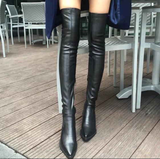 7cf9d2702d2 Nouvelle Hiver de mode Femmes noir en cuir Cuissardes Bottes Sur le genou  Bottes Stretch Sexy Sur genou Haute Talons Femme Chaussures G1 dans  Cuissardes de ...