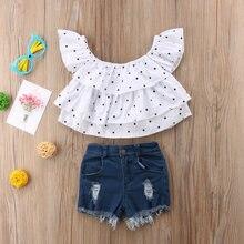 7a88c3976 Recién Nacido bebé niños niña ropa camiseta del hombro Tops y denim  Pantalones fijaron nueva lindo Ropa femenina de bebé conjunt.
