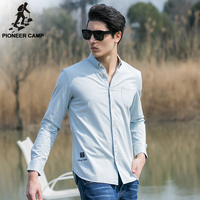 Pioneer Camp 2018 new fashion men shirts solid slim fit casual male social shirt long sleeve imported British style 666203