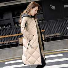 #2611 2016 Long jacket With hooded 3XL Womens winter jackets Fashion Jaqueta feminina inverno Parkas Thick Long down jacket