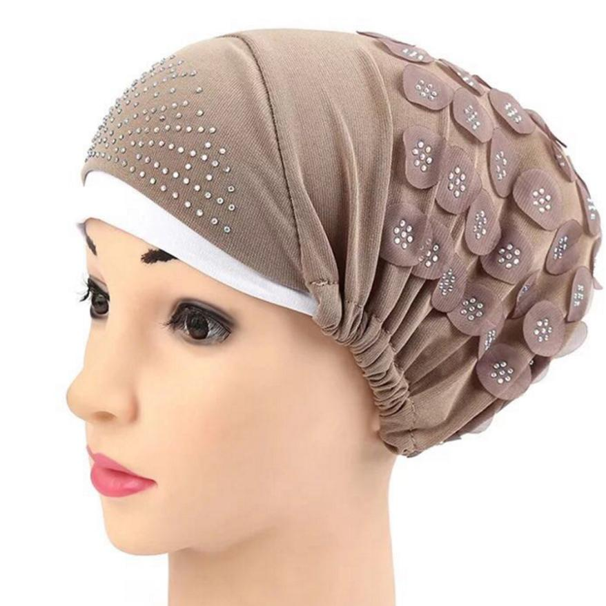 Hair Loss Head Scarf Wrap Hijib Cap Hot drilling Floral Women Muslim Stretch Turban Hat Chemo Cap Freeshipping 2019 cap winter