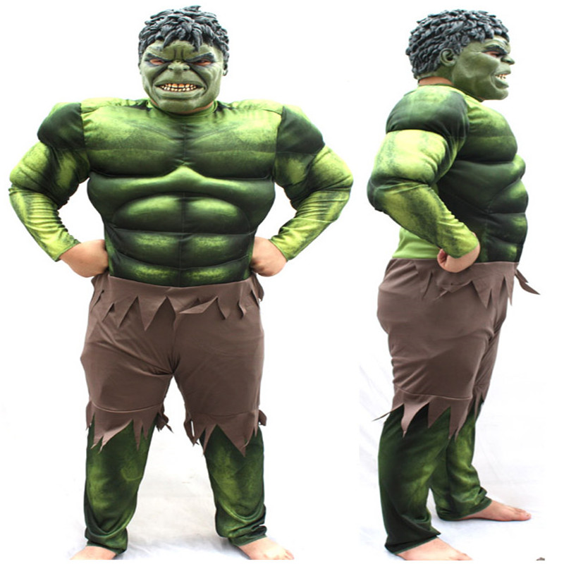 Adult Muscle Hulk Men Jumpsuit  Superhero Cosplay Bodysuit Halloween and Party Cosplay Costumes For Man