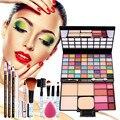 Combinación de Colores del maquillaje con Pincel de Maquillaje de sombra de ojos brillo de labios Colorete 5 UNIDS Puff Lápiz Delineador de Cejas Kit de Cosméticos