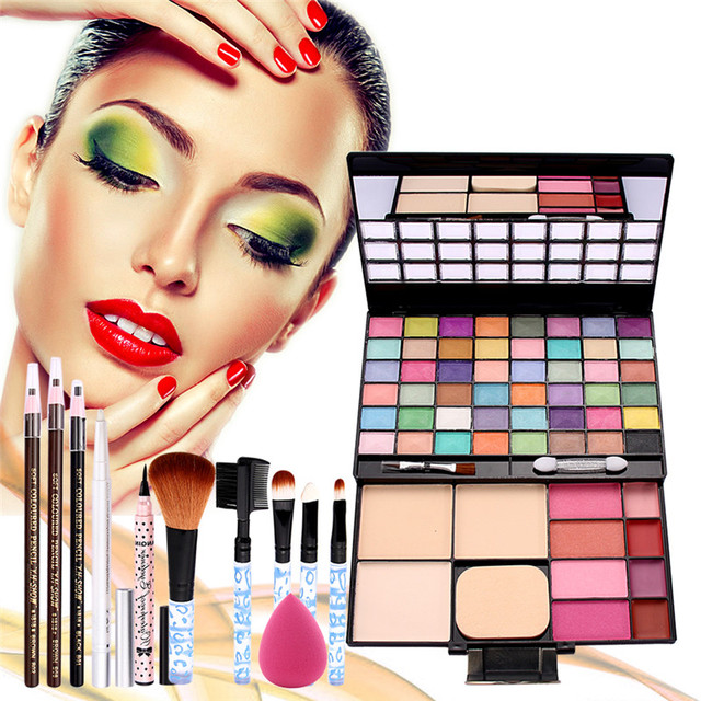 Makeup Palette Combination with eyeshadow lip gloss Blusher 5PCS Makeup Brush Puff Eyebrow Pencil Eyeliner Cosmetics Kit