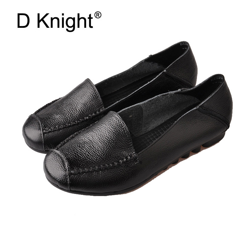 Women Genuine Leather Shoes Vintage Cow Leather Women Flats Fashion Square Toe Slip-on Moccasins Loafers For Women Mother Shoes women ladies flats vintage pu leather loafers pointed toe silver metal design