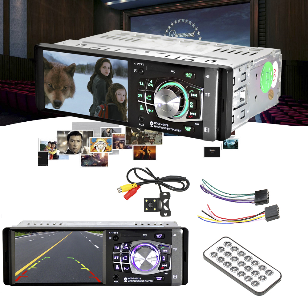 "kkmoon 4.1"" 1 Din HD Car Radio Audio Stereo MP5 Player FM BT 2.0 Support Rear View Camera USB Steering Wheel Remote Control"