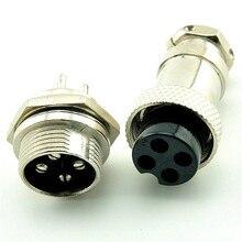 цена на 2pcs/lot  4PIN 16mm gx16-4 plug cable connector plug and socket
