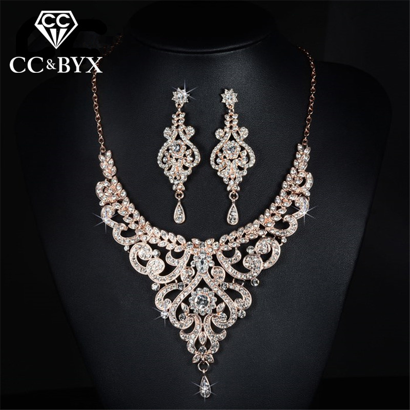 Rose Gold Color Bridal Jewelry Sets Cz Austrian Crystal Necklace Earring Sets Luxury Jewelry Femme D020(China)