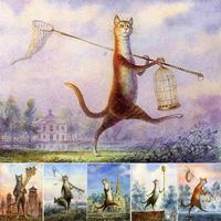 6 Styles Cat Modular Oil Painting By Numbers Pictures Standing Cat Wall Art Coloring By Numbers