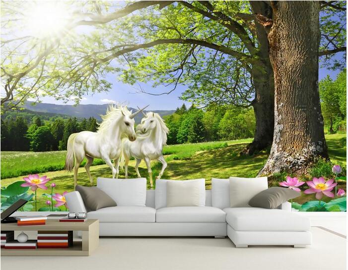 Online krijg goedkoop eenhoorn 3d behang mural alibaba group - Schilderij romantische kamer ...