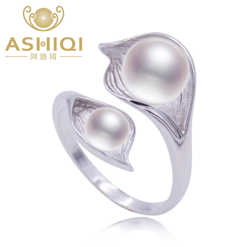 ASHIQI Natural pearl 925 Sterling Silver Double pearl ring jewelry 7-8mm freshwater pearl white pink purple black