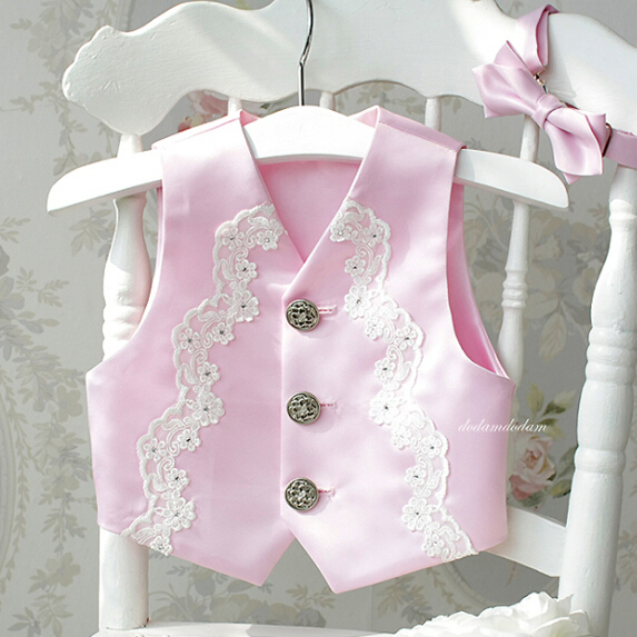 HELLOBABY Pink Lace Elegant Formal Vest For Wedding 1 Year Baby First Birthday Clothes