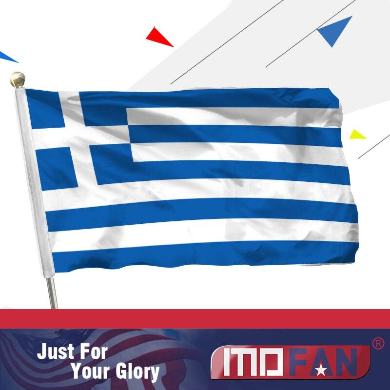 Vlajka MOFAN Řecko - Záhlaví plátna a dvojité prošívání - řecké národní vlajky polyester s mosaznými průchodkami 3x5 Ft