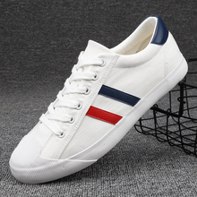 New Canvas Shoes Men White Sneakers Casual Flat Lace-up Adult Male Tenis Footwear Breathable Soft Retro Classic Round Toe Shoes