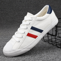New Canvas Shoes Men White Sneakers Casual Flat Lace up Adult Male Tenis Footwear Breathable Soft Retro Classic Round Toe Shoes