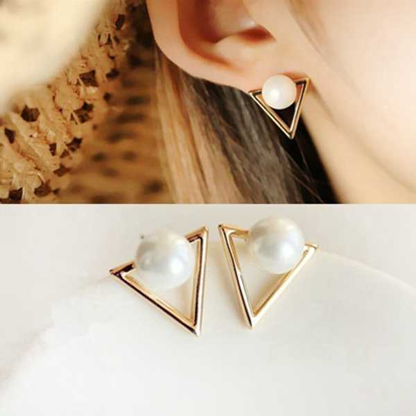 Hot Sale Fashion Nickel Free Simulated Pearl Cute Gold Silver Color Triangle Stud Earrings for Women Jewelry Brincos Oorbellen