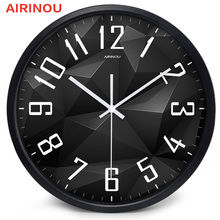Airinou Black Crystal design, glass&metal Silent Movement Wall clock, Living Room Library Science And Technology Hall Decorate