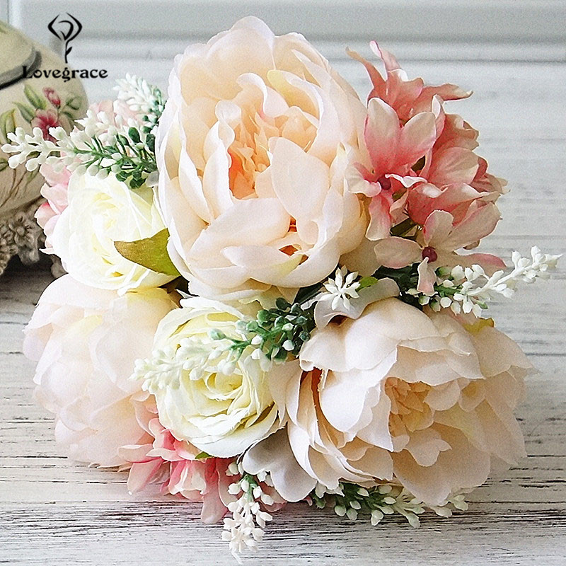 Lovegrace White Silk Peonies Roses Wedding Bridal Bridesmaids Bouquets Pink Flowers Marriage Home Floral Decor Wedding Bouquet