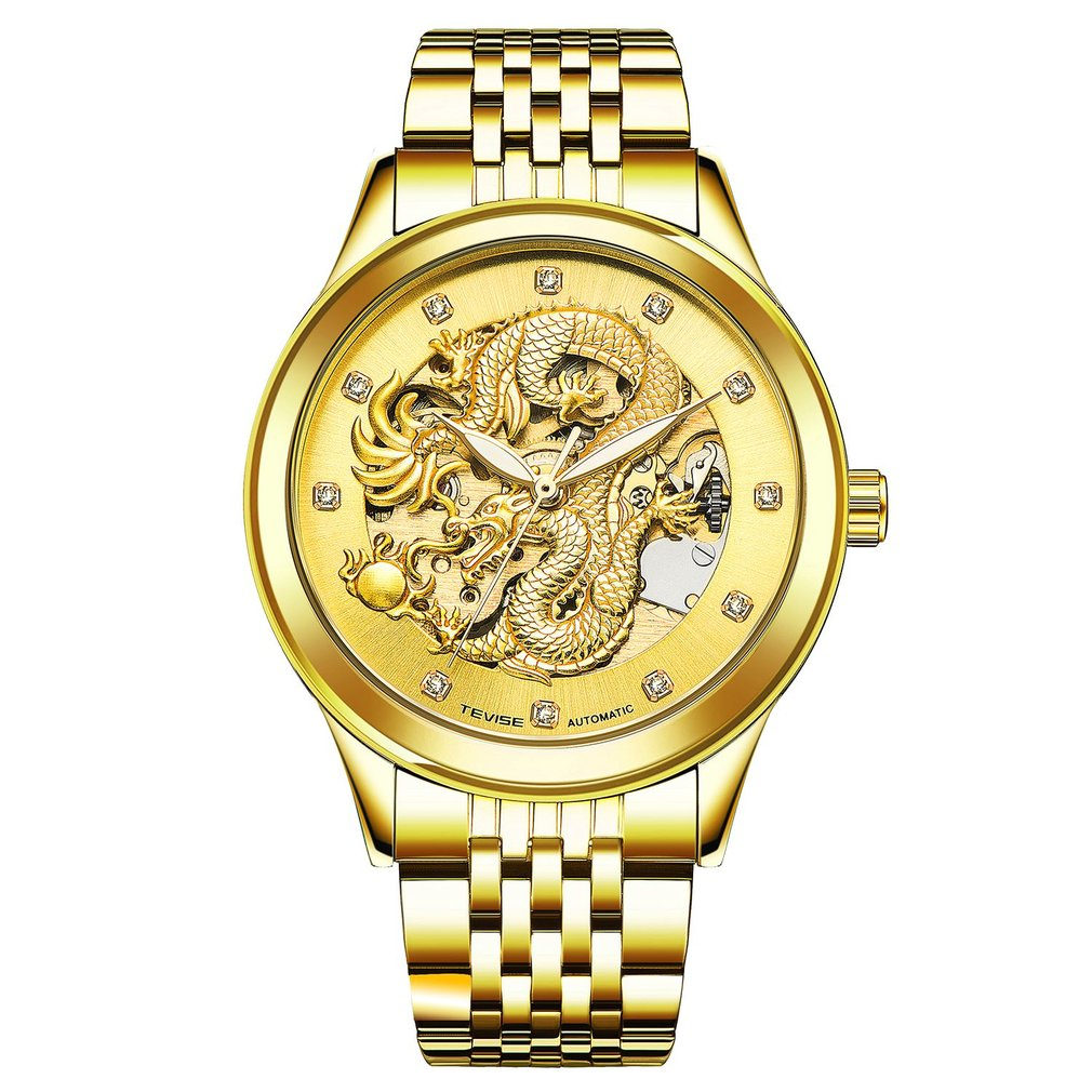 TEVISE Luxury Gold Watches Automatic Self-Wind Luminous Watch Waterproof Mechanical Clock Male Watches tevise luxury brand fashion phoenix women watches luminous clock womens steel gold bracelet automatic mechanical ladies watch