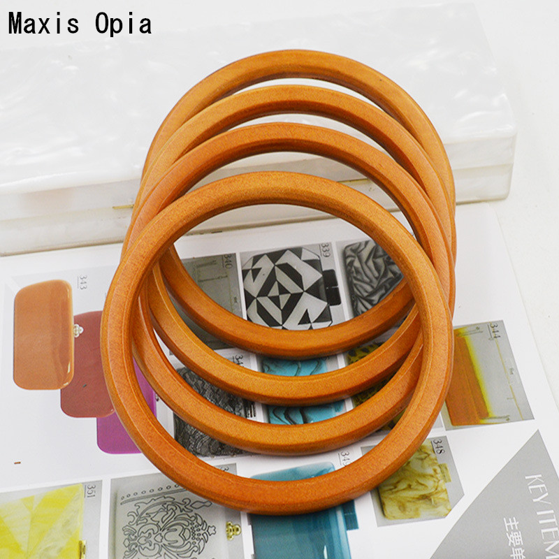 2018 One Piece Wholesale China Factory 30 cm Coffee Wooden Purse Frame Bag Handle DIY Accessories Wood Obag Handle Purse Frame