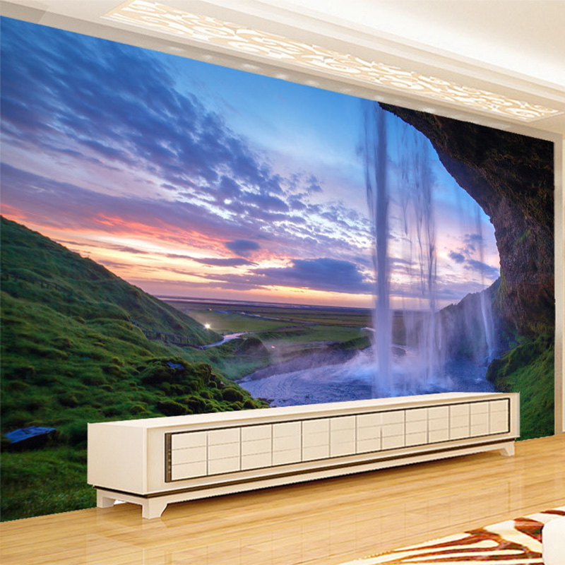 3D Wallpaper Schöne Sonnenuntergang Wasserfall Foto Wandbild ...