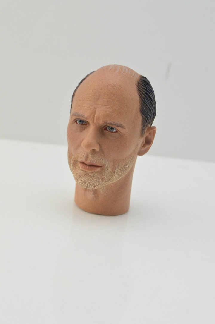 1:6 مقياس الذكور الشكل التبعي الحرب العالمية الثانية الألمانية قناص كورنينج العقيد Baldy رئيس نحت منحوتة نموذج ل 12'' عمل الشكل