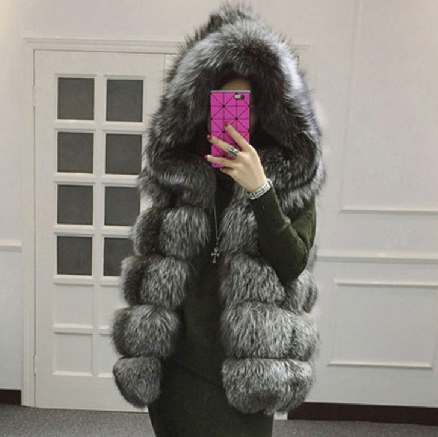 2017 Warm Winter Coat Women faux fox fur vest brand shitsuke femme fur vests fashion luxury peel women's jacket gilet veste