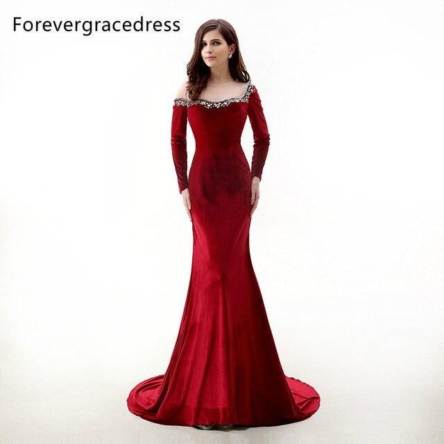 Forevergracedress Neue Design Rot Samt Mit Langen Ärmeln Abendkleid ...