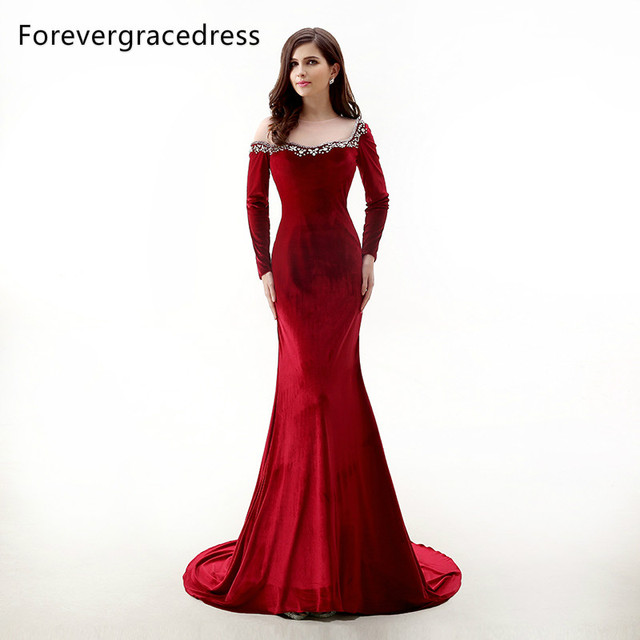 f2ac4a711c2 Forevergracedress New Design Red Velvet Long Sleeves Evening Dress Sheer  Top Beaded Crystals Formal Party Gown Plus Size