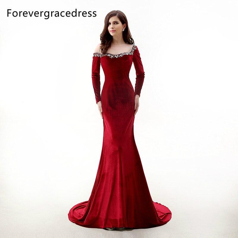 Forevergracedress New Design Red Velvet Long Sleeves Evening Dress Sheer Top Beaded Crystals Formal Party Dress Plus Size