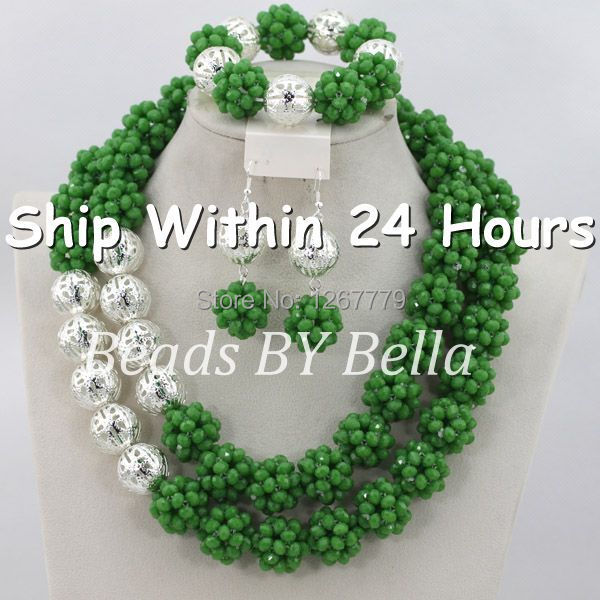 Exclusive Wedding Gift Set Crystal Beads silver plated Balls Jewelry Set Green African Beads Jewelry Set Free Shipping ABC378 контейнер status rc20 красный